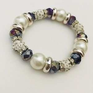 Holographic Purple and Pearl Beaded Bracelet